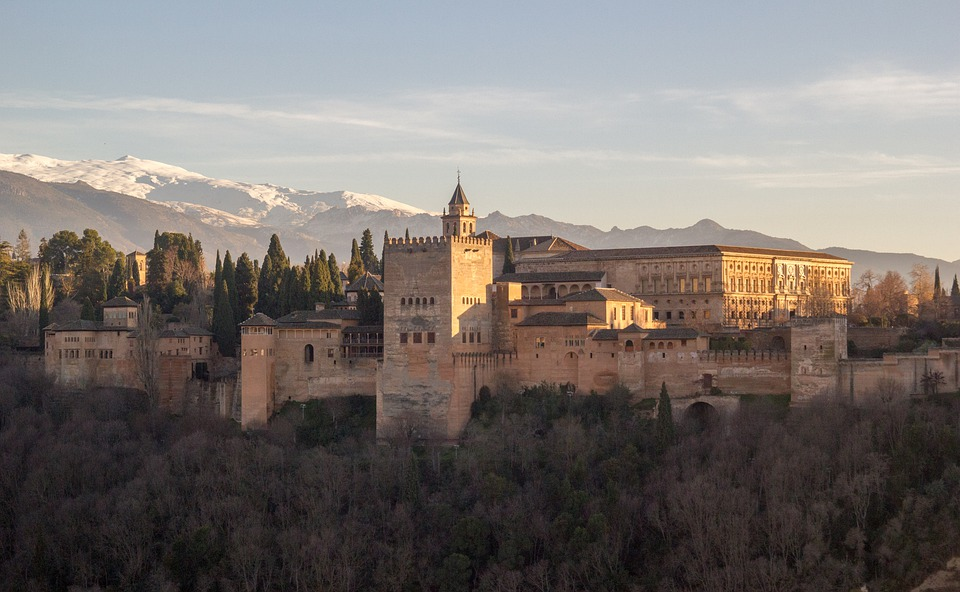 Alhambra, Granada, Atardecer, Andalucia, Monumentos