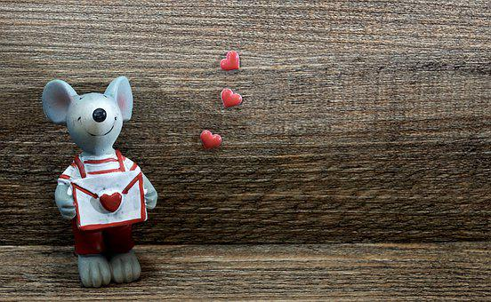 Mouse, Figure, Love Letter, Valentine