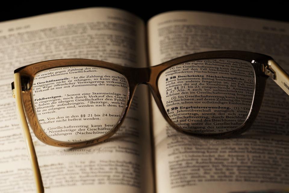 一冊の本, 論文, ドキュメント, 詩, 側, 文学, 書き込み, 読書用の眼鏡, 眼鏡, 低視力, 読む