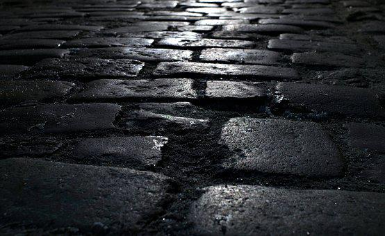 Pavement, Street, Pavers, Walkway, Dark