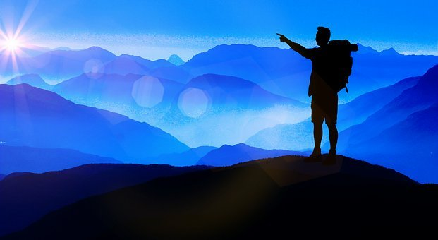 Silhouette, Traveller, Mountains, Light