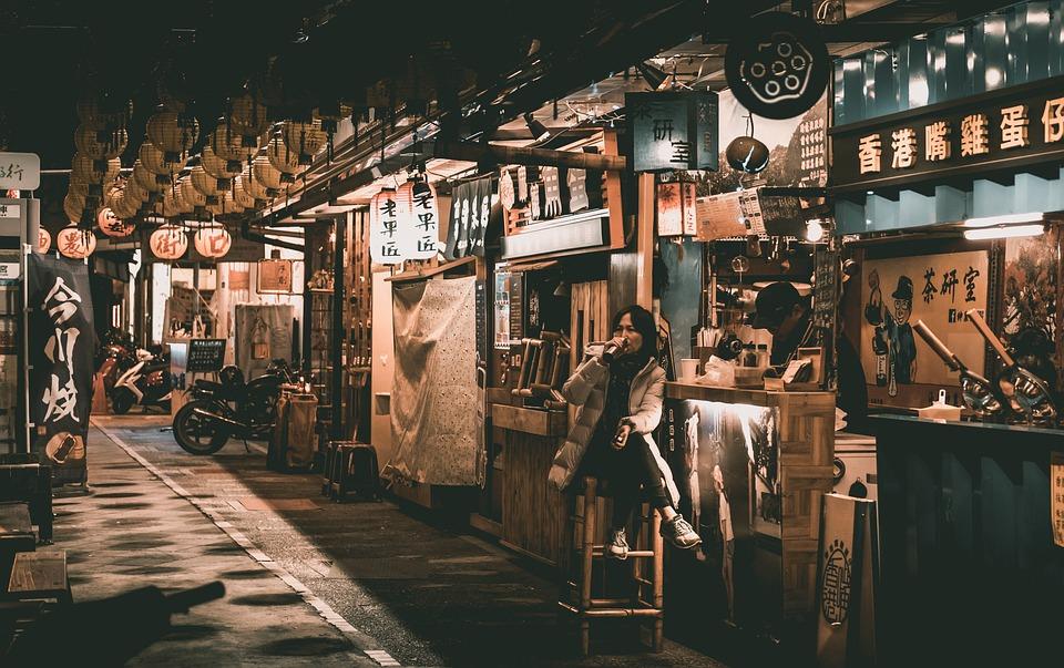 人, 街道, 酒吧, taiwan, 复古街道, 街景, 建筑