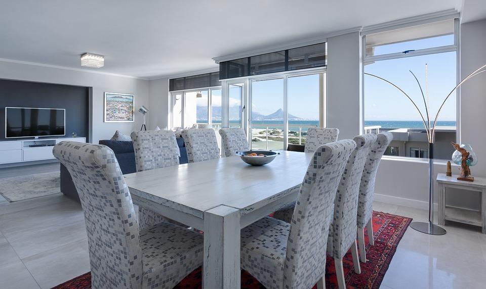 Dining room, living room, modern, white, bright, window