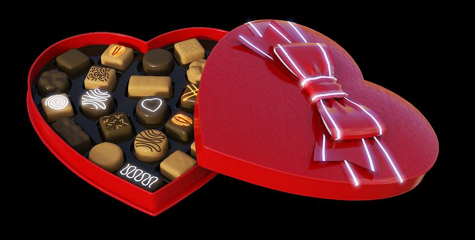 Cuore, Cioccolatini, Regalo, Imballaggio, Cioccolato
