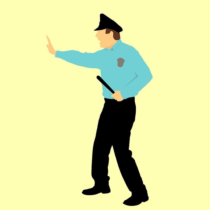 デザイン, 警察, セキュリティ, 漫画のキャラクター, アイデア, バトン, 青, クラブ, 警官, 犯罪