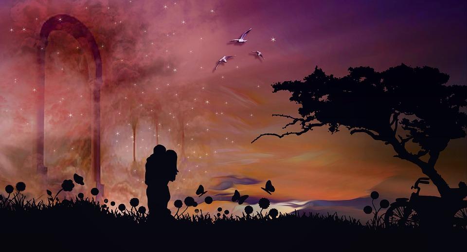 喜怒哀楽, カップル, 恋愛中です, 愛, ロマンチックな, ロマンス, 空, バレンタイン, デジタル作成