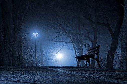 Park, Bench, Night, Evening, Fog, Mist
