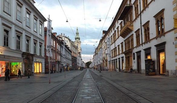 Straße, Stadt, Architektur, Reise, Graz