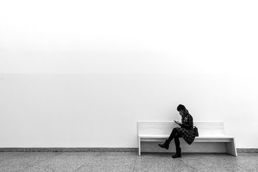 Women, One, Wall, Minimalism, Bank
