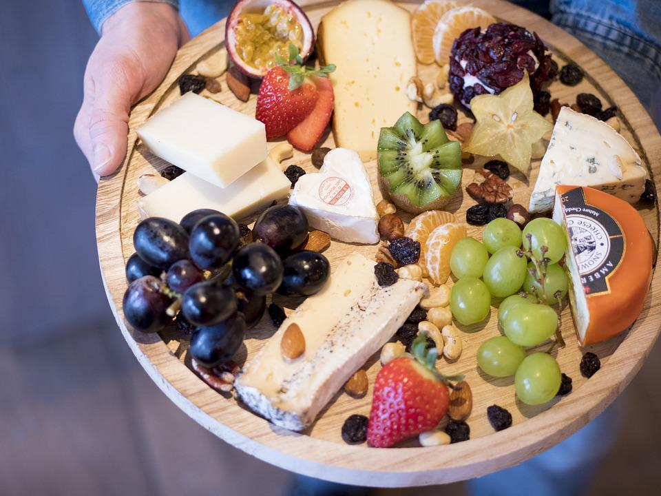 Food, Fruit, Plate, Cheese, Table, Freshness, Grape