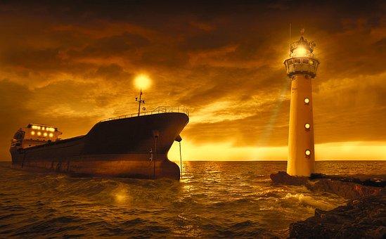 海, ボート, 灯台, 光, 日没, 空, オレンジ, コンテナー船, 貨物船