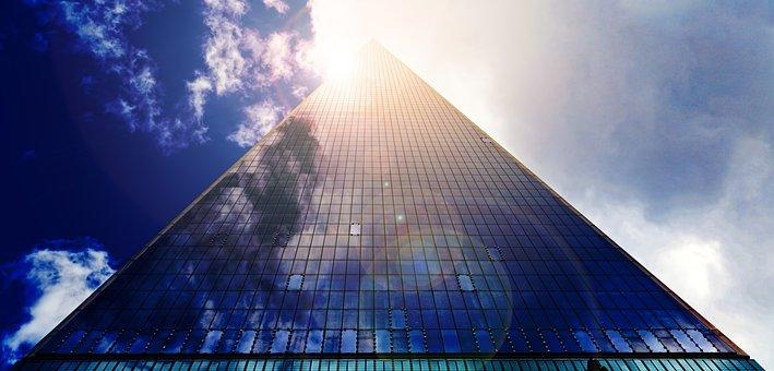 高層ビル, 超高層ビル, ガラスのファサード, ファサード, 事務所ビル