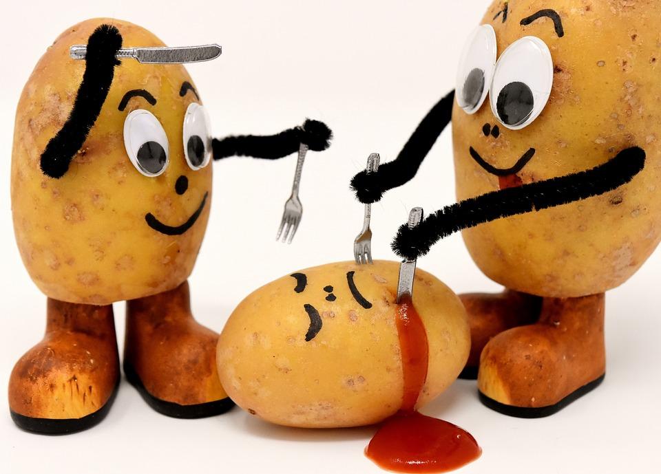 Kannibalen, Lustig, Kartoffeln, Messer, Gabel, Essen