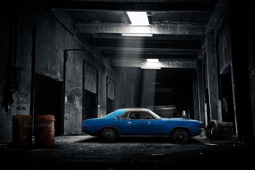 Car, Garage, Old, Dark, Automobile
