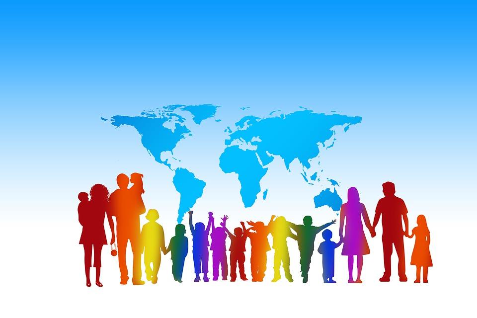 Menschenmenge, Menschen, Kontinente, Welt, Erde, Globus