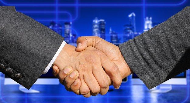 手, 握手, 会社, 超高層ビル, オフィス, 事務所ビル, 金融の世界, 金融