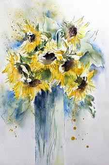 Watercolour, Flower, Nature, Plant
