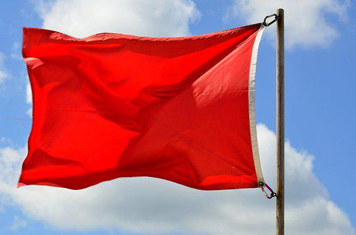 Red Flag, Warning, Beach, Ocean