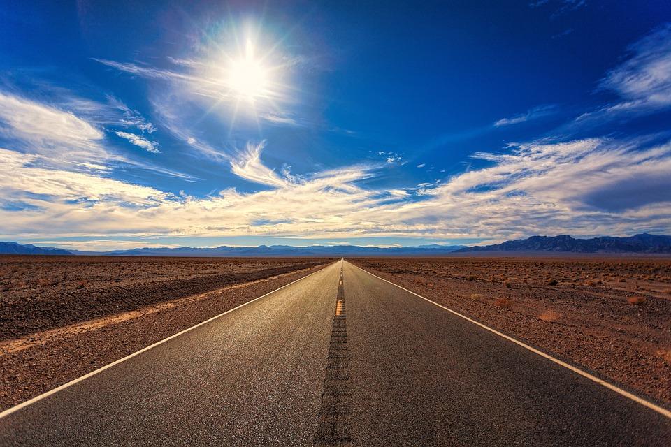 Road, Sky, Desert, Landscape, Nature, Perspective, Sun