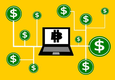 Blockchain, 金, チェーン, ブロック, 分布, シンボル, 技術
