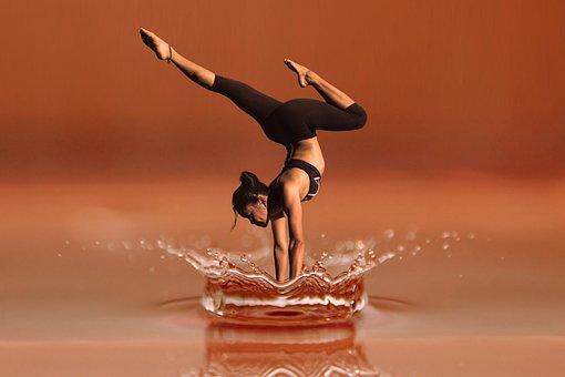 残高, パワー, ダンス, ヨガ, 瞑想, 女性, フィットネス, 健康, 水滴