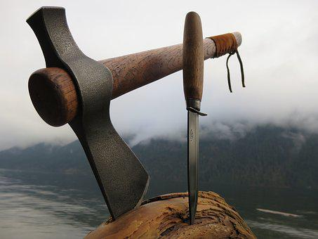 Tomahawk, Knife, Wood Block, Tools, Cut