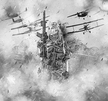Guerra, Soldado, Mulher, Feminino