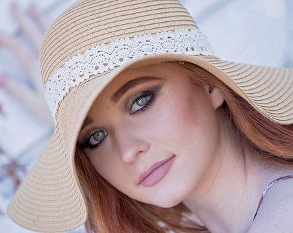 女性, 帽子, ファッション, 美しい, 女の子, 若いです, モデル