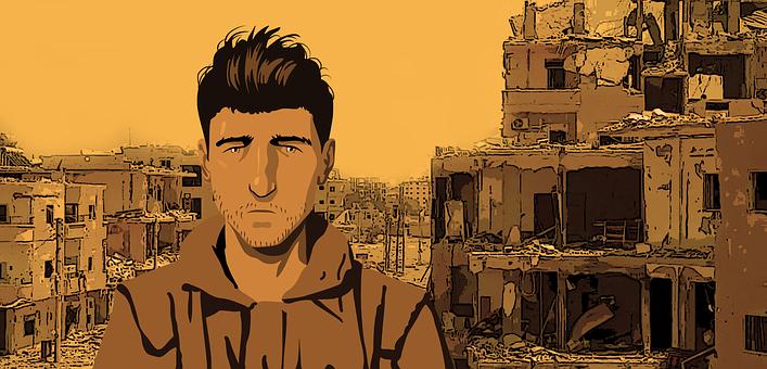 戦争, 男, 悲しい, 悲しみ, 瓦礫, 破壊, 村, 市, 失望, 賛辞
