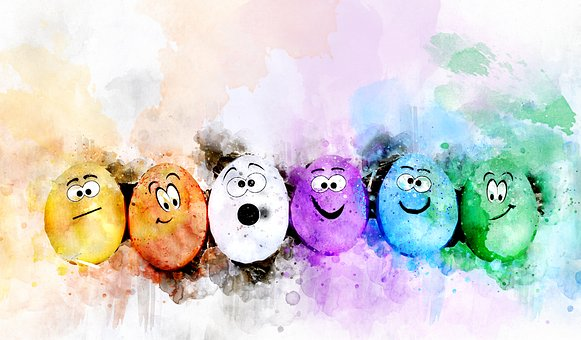 Eggs, Easter, Colorful, Watercolor