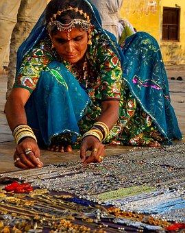 India, Dama, Mujer, Venta, Calle