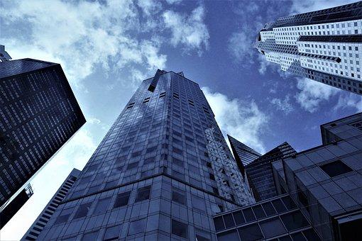 架构, 城市, 摩天大楼, 办公室, 建设, 天空, 塔, 大, 天际线, 现代
