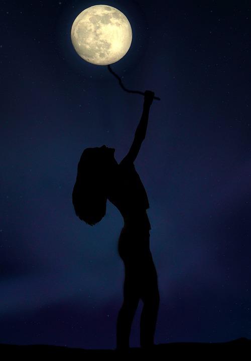 girl full moon balloon free photo on pixabay