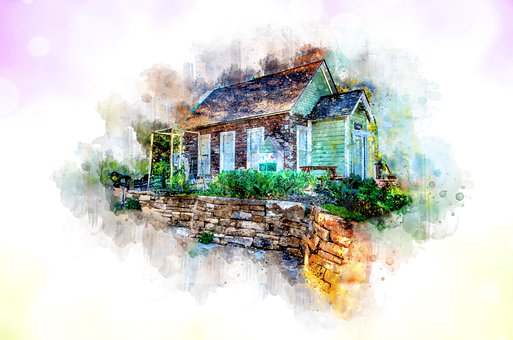 Home, House, Watercolor, Purple, Green