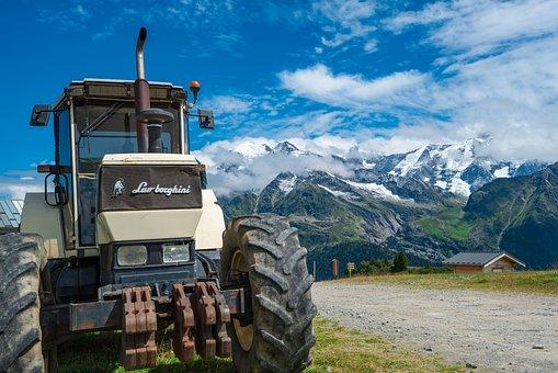 机, 水平, 景观, 拖拉机, 农业, 山, 车辆, 夏季, 兰博基尼