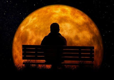 Moon, Age, Man, Person, Bank, Sit