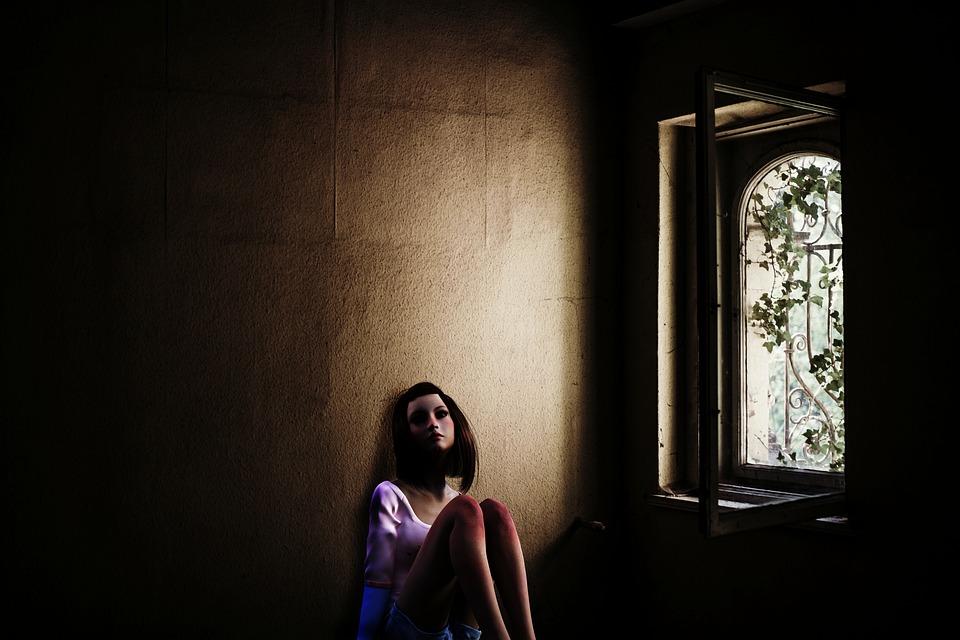 女の子, ティーンエイ ジャー, 人間, 女性, ウィンドウ, 入射光の, 投獄, グリッド, 窓の鉄格子