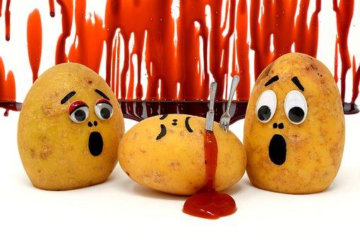 Kartoffeln, Ketchup, Mord, Blut, Lustig
