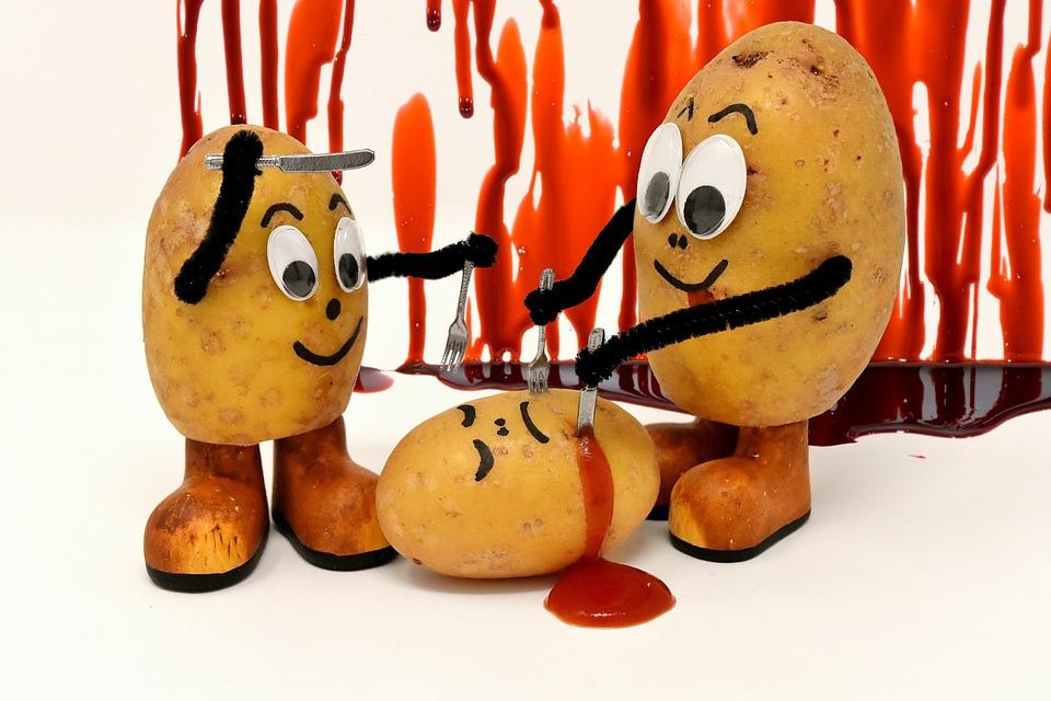 食人族, 滑稽, 土豆, 刀, 福克, 吃, 杀, 番茄酱, 血, 乐趣, 搞笑, 可图片