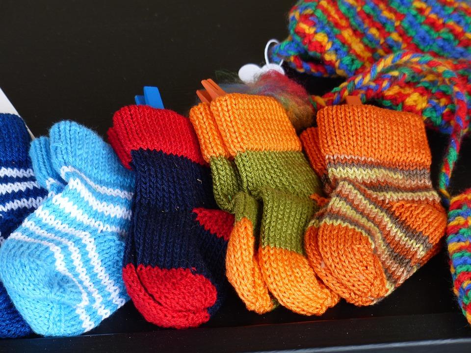 靴下, ニット, カラフルです, ウール, 手作り, 冬, 毛織り, 暖かい, デザイン, 衣料品, 趣味