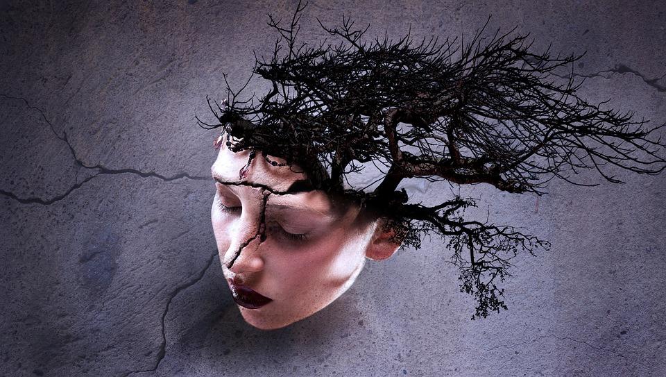 Fantasía, Retrato, Surrealista, La Cabeza, Árbol