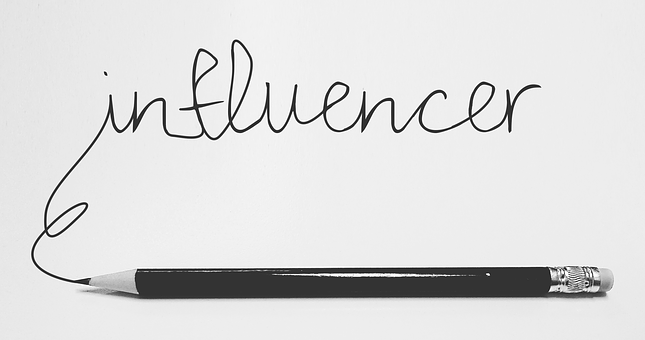 Pencil with the word infleuncer as part of Online awareness creation 4: Get on Twitter
