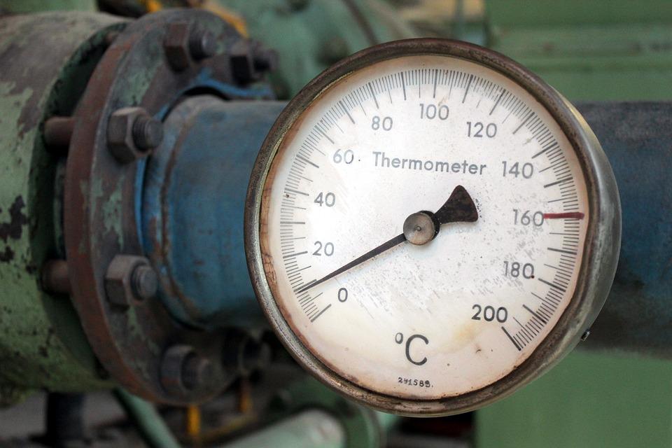 ゲージ, 温度計, 温度, 工場, 業界, 緑青, 度, 摂氏, 病的です, 病んでいます, スケール
