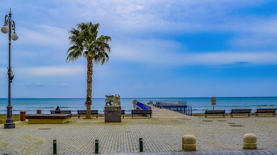 Cyprus, Larnaca, Promenade, Beach, Sea, Seashore, Pier