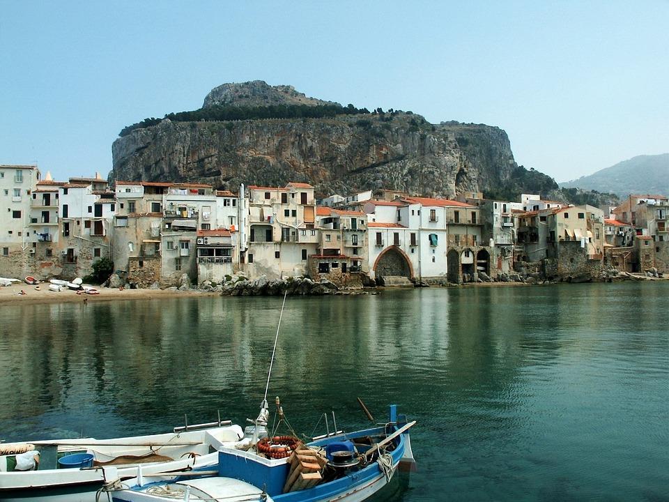 Cefalù, Sicilia, Italia, Barca, Mare, Costa, Rock