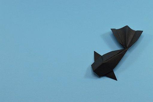 Blue Carp Origami Fish Water Black