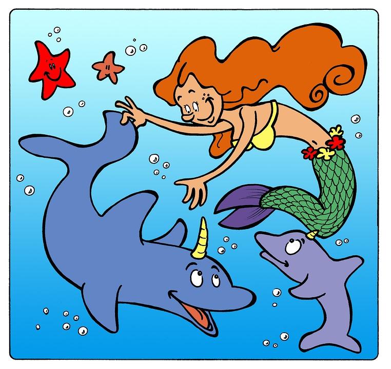 Deniz Kızı Yunus Okyanus çizgi Pixabayde ücretsiz Resim