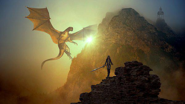 Fantasy, Dragons, Mountain, Light, Sage