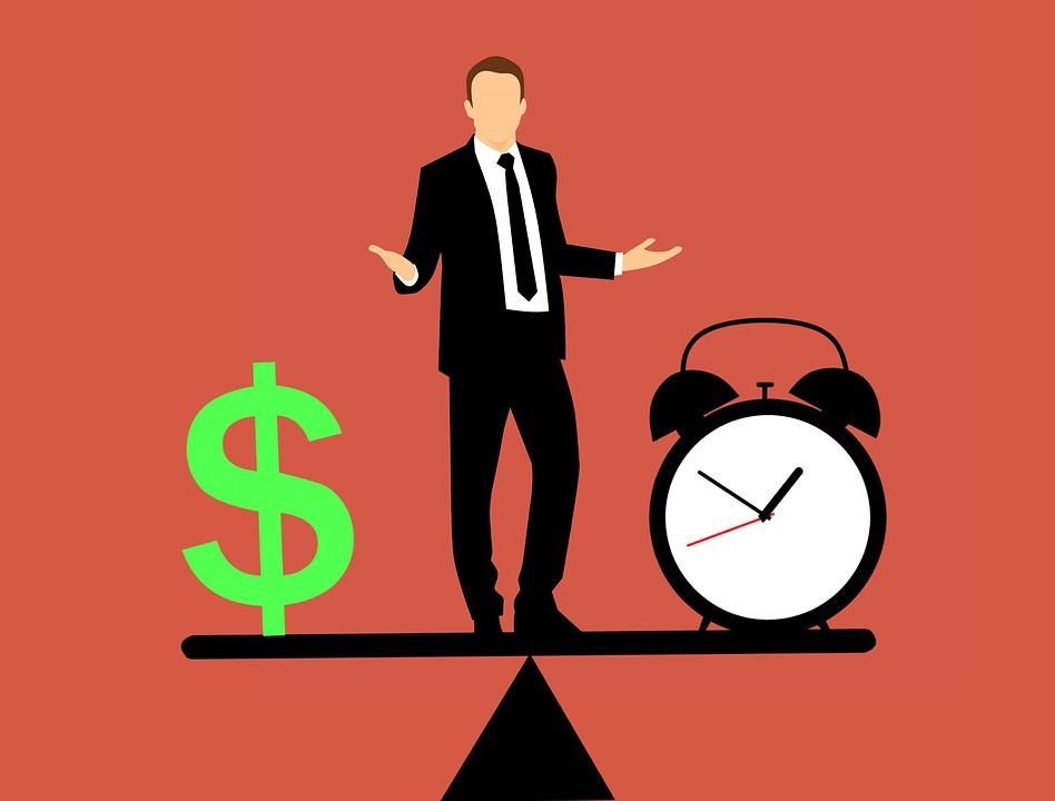 ビジネスの男性, バランス, 時間とお金, アイデア, ヒーローの会社, 従業員, スマートと強力な