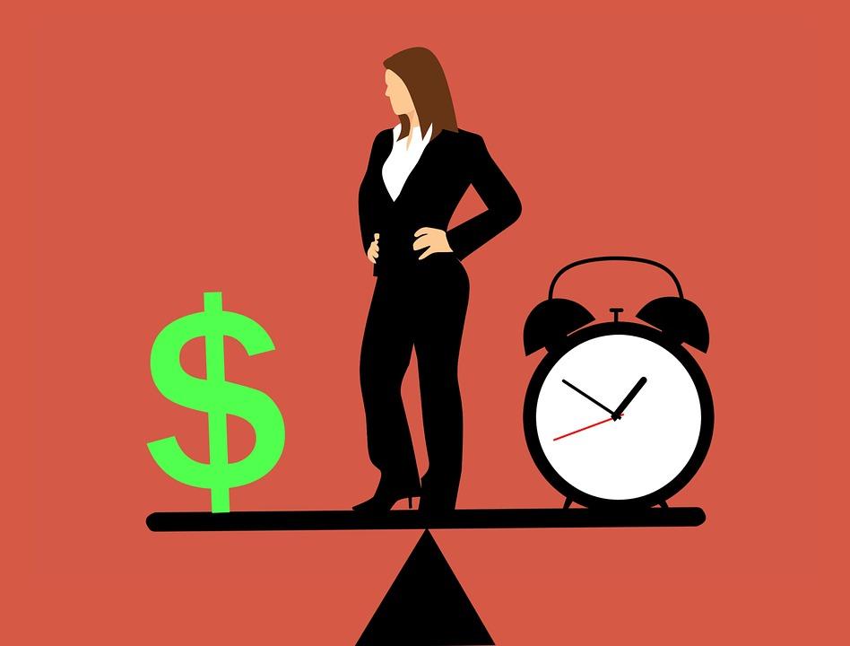 Zakenvrouw, Balanceren, Tijd En Geld, Idee
